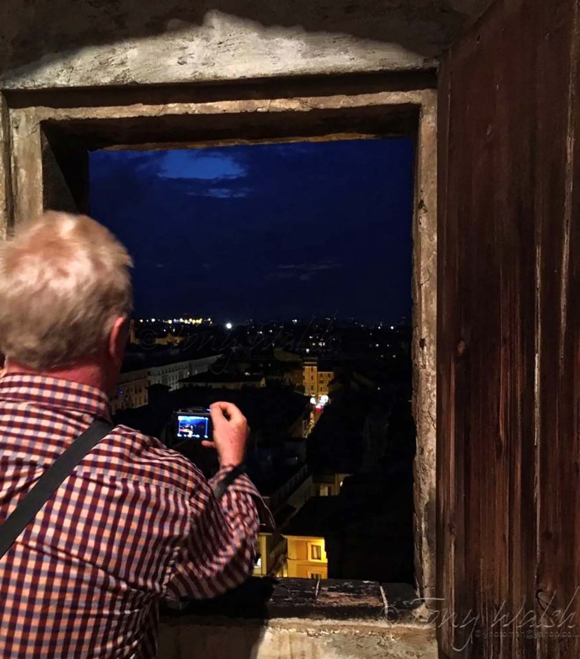 Photographing Bologna from San Pietro bell tower