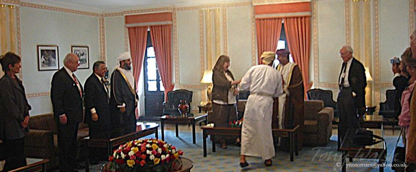 His Highness Sayyid Fahd, Sultan Qaboos's deputy, and the Minister of Religious Affairs Sheikh Abdullah Al Salmi with a group.