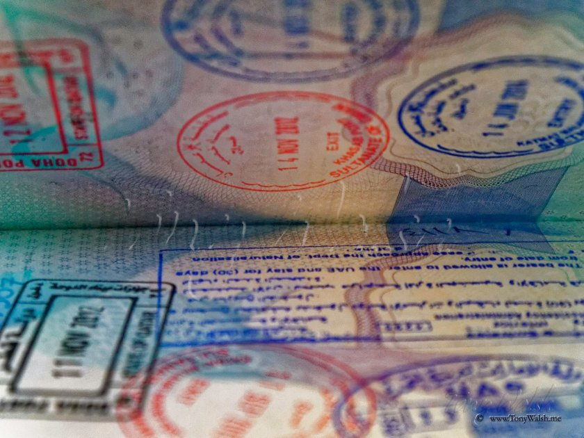 Oman UAE Exit and Entry Stamps