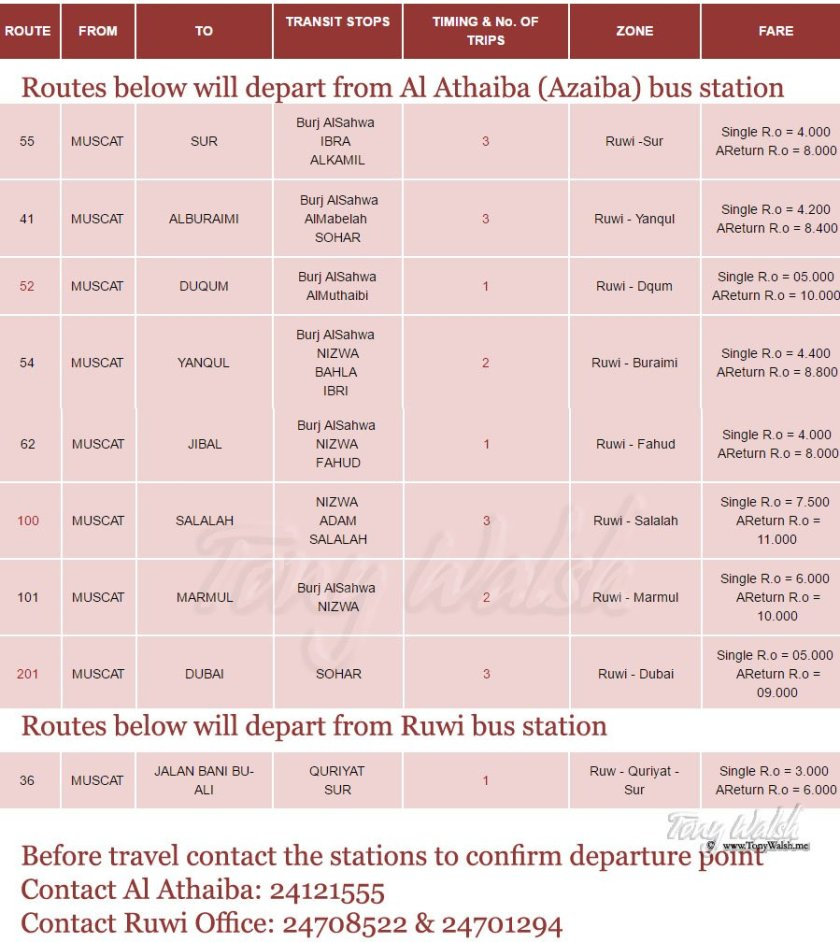 Mwasalat TimeTable re route changes