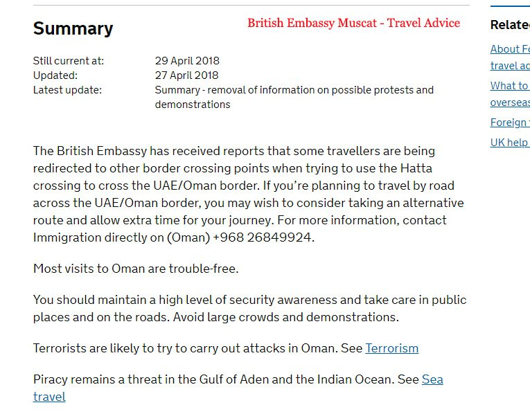 British Embassy Muscat Travel Advice