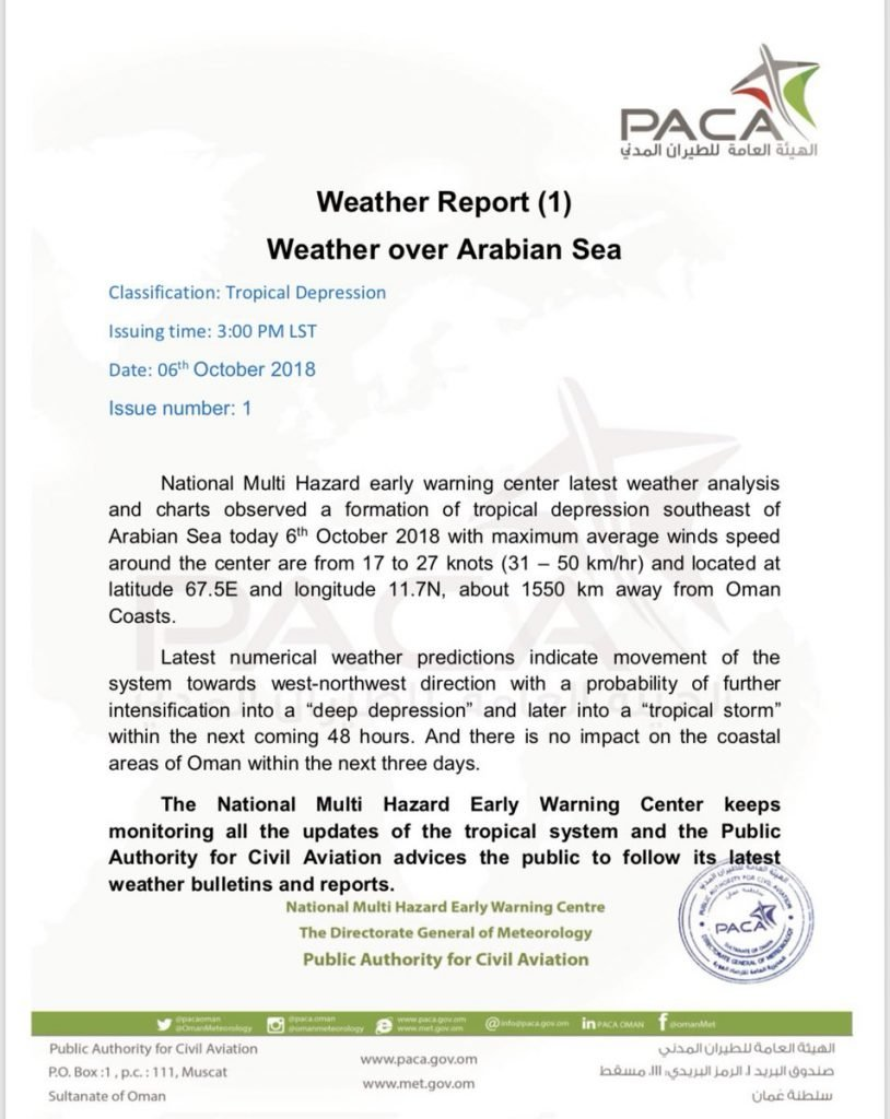 PACA Initial Report on Tropical Depression