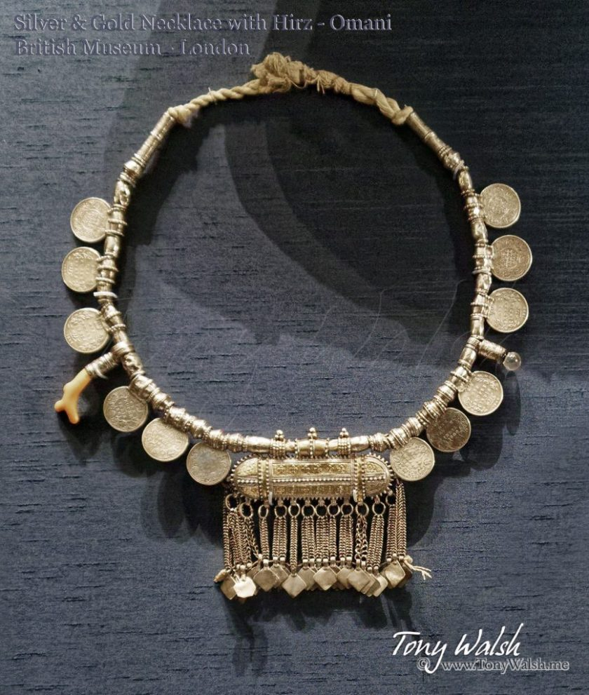 Silver & Gold Necklace with Hirz - Omani