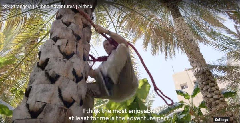Rick climbing date palm Airbnb Adventures