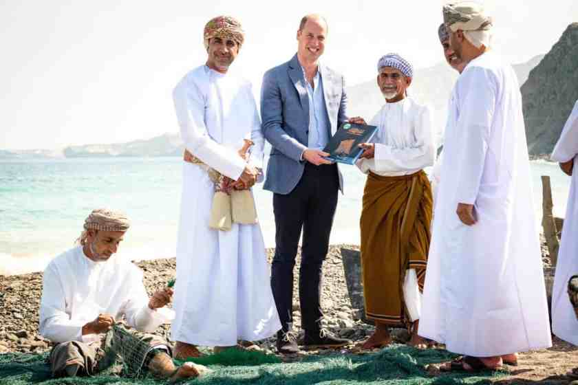Prince William receives the book about The Jewel of Muscat boat in Muscat
