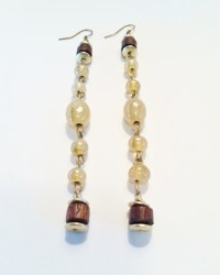 Vintage crystal and wood drop earrings with gold accents