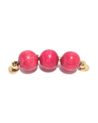 3 Red Wood Beads with Gold Magnetic Clasp