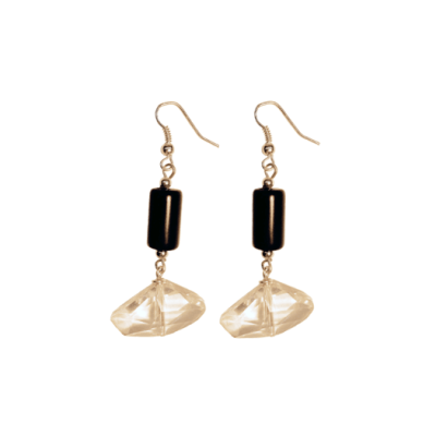 Geo-Crystal Onyx Earrings