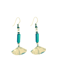 Geo-Crystal Turquoise Earrings