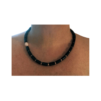 Tiny Tookey Black Onyx and Pearl Necklace 4 retouched