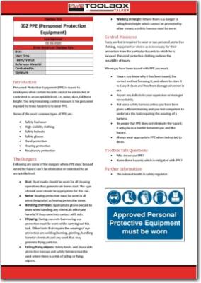 PPE toolbox talk