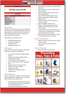 slips trips and falls toolbox talk