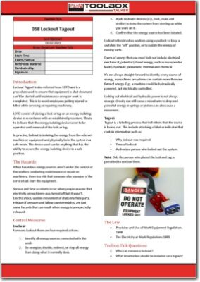 lockout tagout toolbox talk