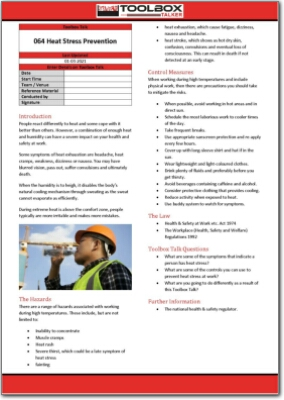 heat stress prevention toolbox talk