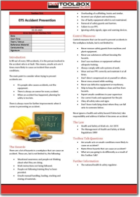 accident prevention toolbox talk
