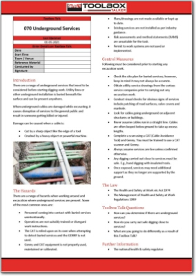 underground services toolbox talk