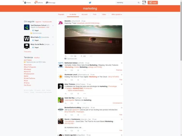 ricerca marketing twitter