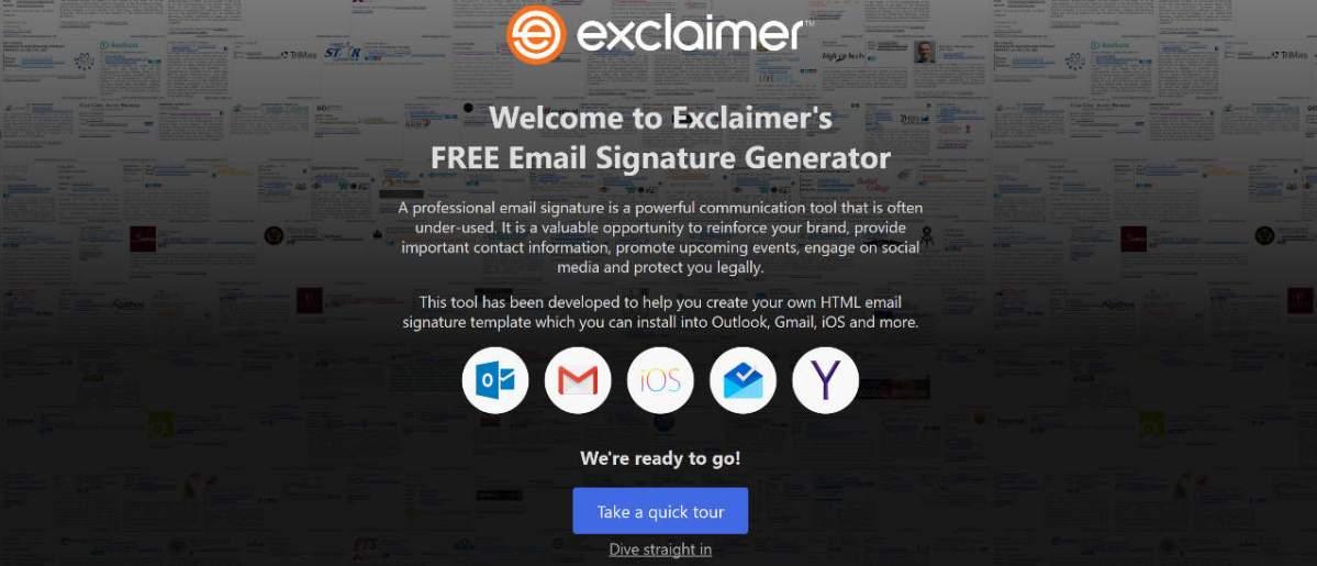 Firma personalizzata nelle tue email, Exclaimer's Signature Generator