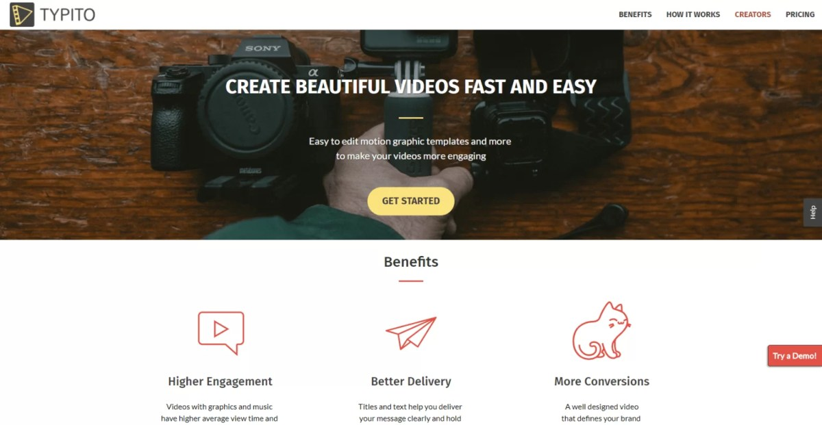 Creare video con testo in motion graphic free, Typito