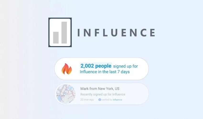 Influence, il tool per la social proof in lifetime a 49$