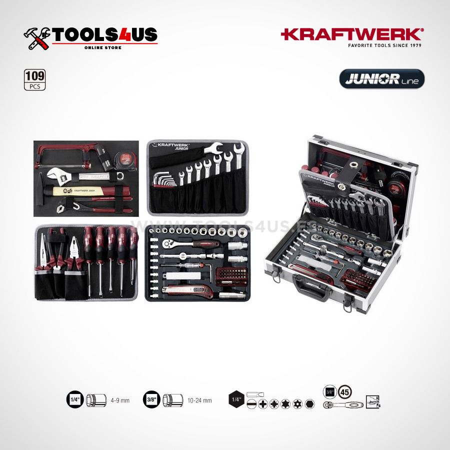 1043 KRAFTWERK maleta aluminio herramientas completo 109 piezas 06 - Maleta Aluminio compacta con herramientas (109 piezas)