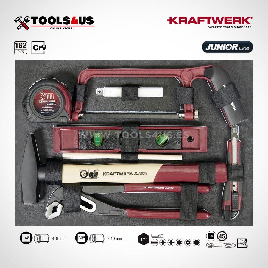 1051 KRAFTWERK maleta aluminio herramientas completo 162 piezas 02 - Maleta Aluminio compacta con herramientas y atornillador taladro Metabo (162 piezas)