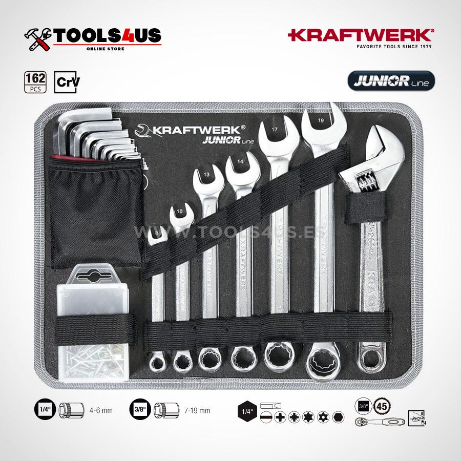 1051 KRAFTWERK maleta aluminio herramientas completo 162 piezas 04 - Maleta Aluminio compacta con herramientas y atornillador taladro Metabo (162 piezas)