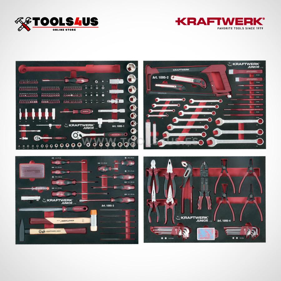 1095 carro completo junior line kraftwerk tools herramientas 02 - Carro Taller Completo 7 cajones con herramientas 339 piezas