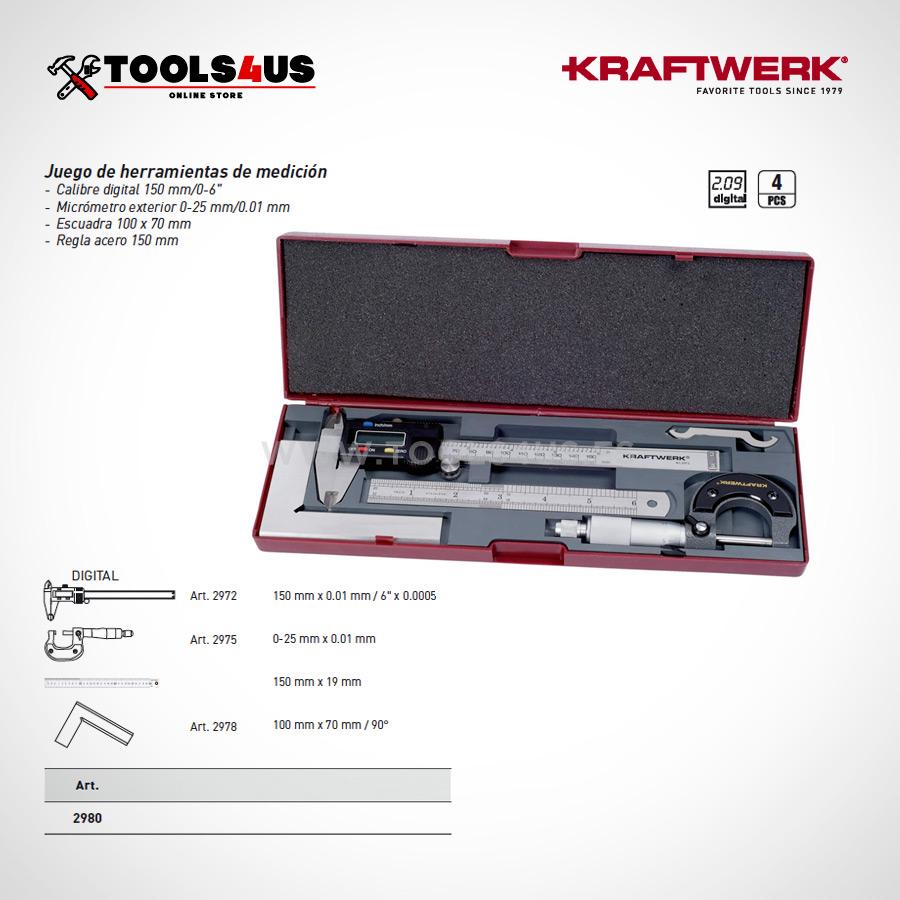 2980 Krafwerk tools estuche herramientas medicion profesional taller 02 - Set Herramientas de Medición 4 piezas