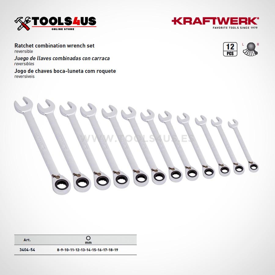 3404 54 KRAFTWERK Juego de llaves combinadas carraca reversibles 12 piezas 02 - Estuche Juego de 12 Llaves combinadas Carraca Reversible