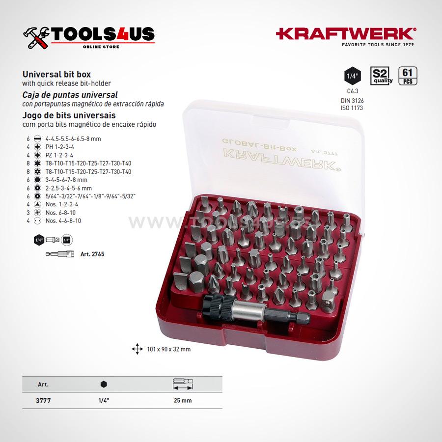 3777 KRAFTWERK Caja puntas universal para tornillos de seguridad 02 - Caja Megabit de puntas Global (61 piezas)