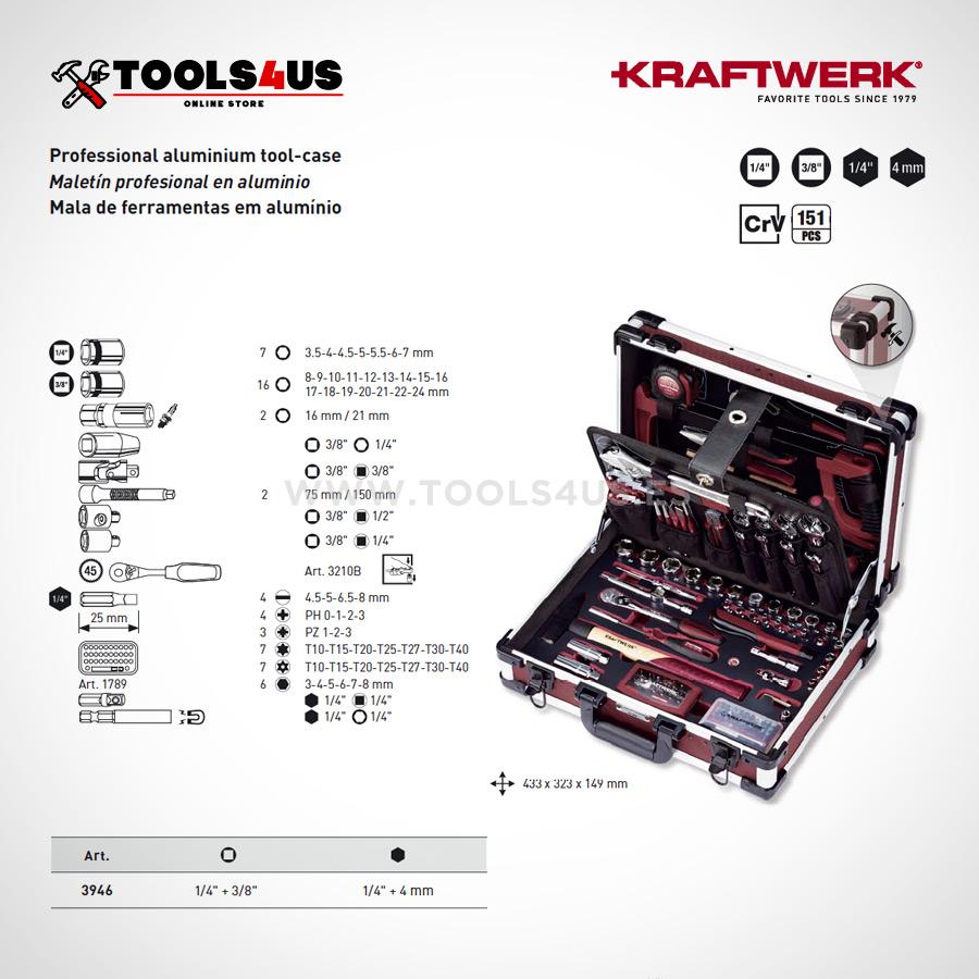 3946 Kraftwerk Maleta Herramientas Profesional Aluminio 151 piezas 03 - Maleta de Herramientas Profesonal en Aluminio (151 piezas)