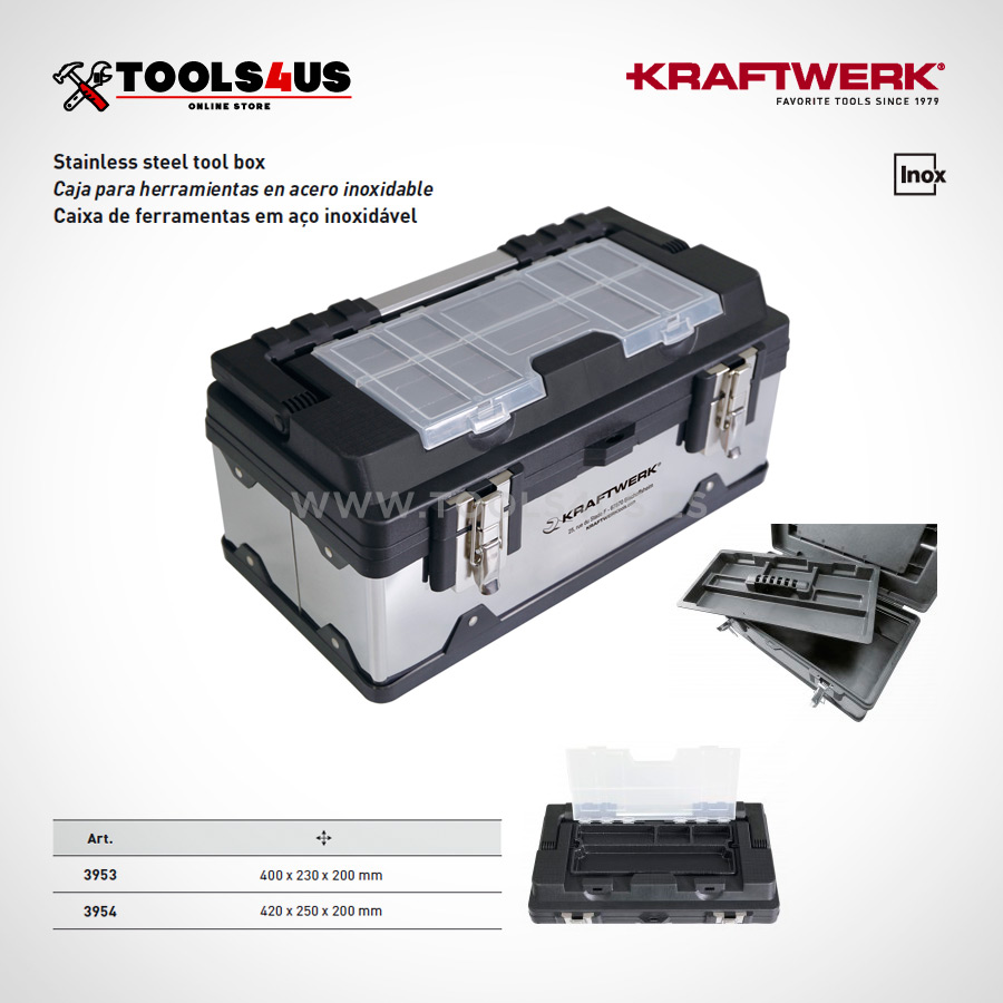 3953 3954 KRAFTWERK Caja herramientas acero inoxidable 02 - Caja para Herramienta en Acero Inoxidable Grande