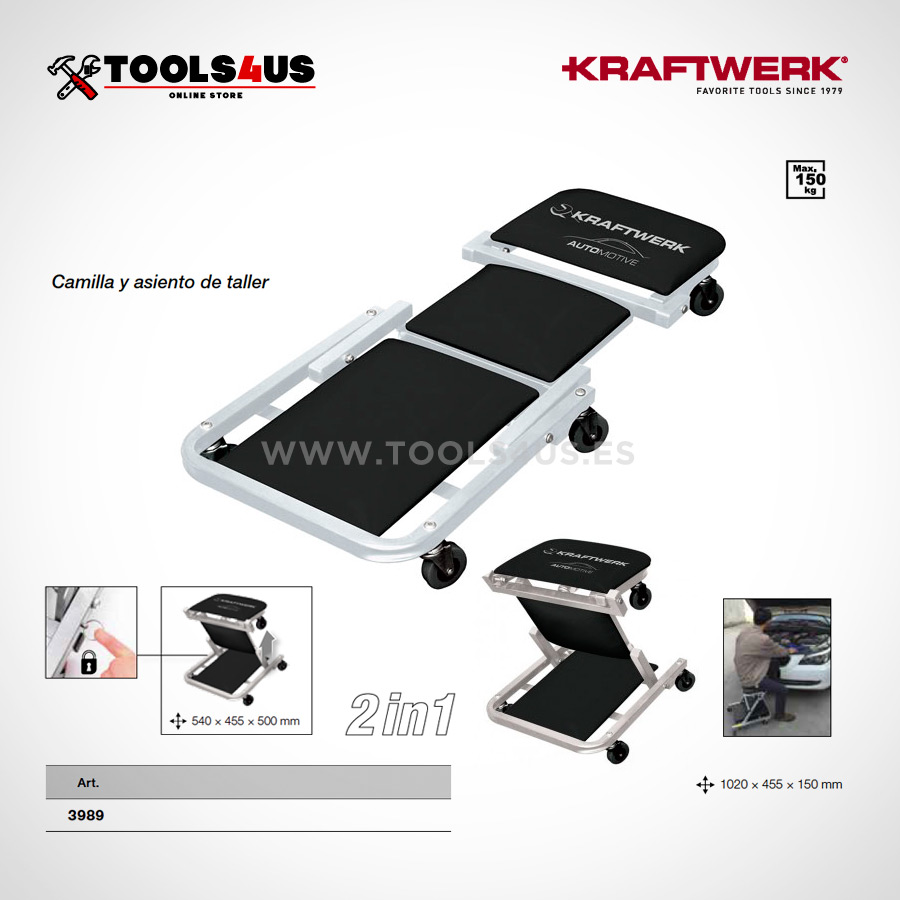 3988 kraftwerk tools camilla asiento de taller garage 2en1 02 - Camilla / Asiento Taller 2 en 1 KRAFTERK