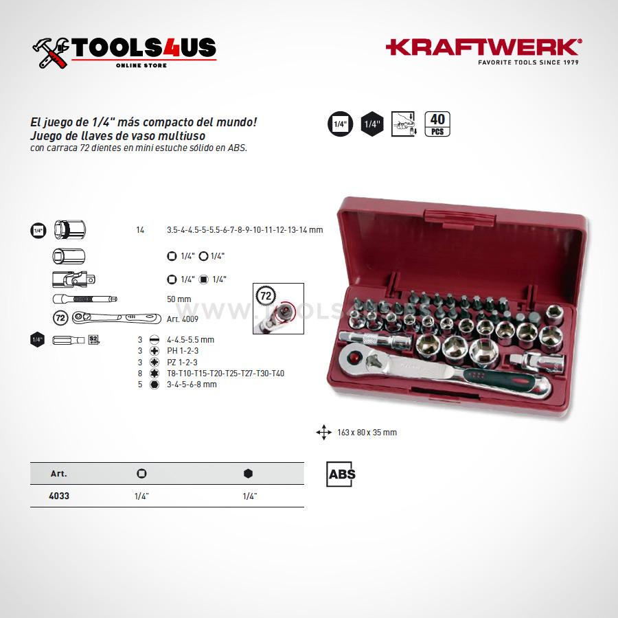 4033 Estuche set llaves vaso 40 piezas carraca compacto eXtreme kraftwerk 02 - Estuche 40 piezas compacto eXtreme KRAFTWERK