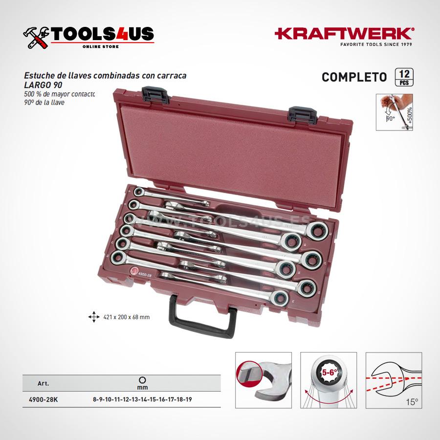4900 28k estuche herramientas juego llaves combinadas carraca 90 extra largo 02 - Estuche Juego de 12 Llaves Combinadas a 90º con Carraca