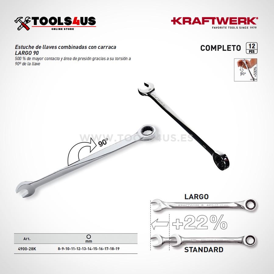 4900 28k estuche herramientas juego llaves combinadas carraca 90 extra largo 03 - Estuche Juego de 12 Llaves Combinadas a 90º con Carraca