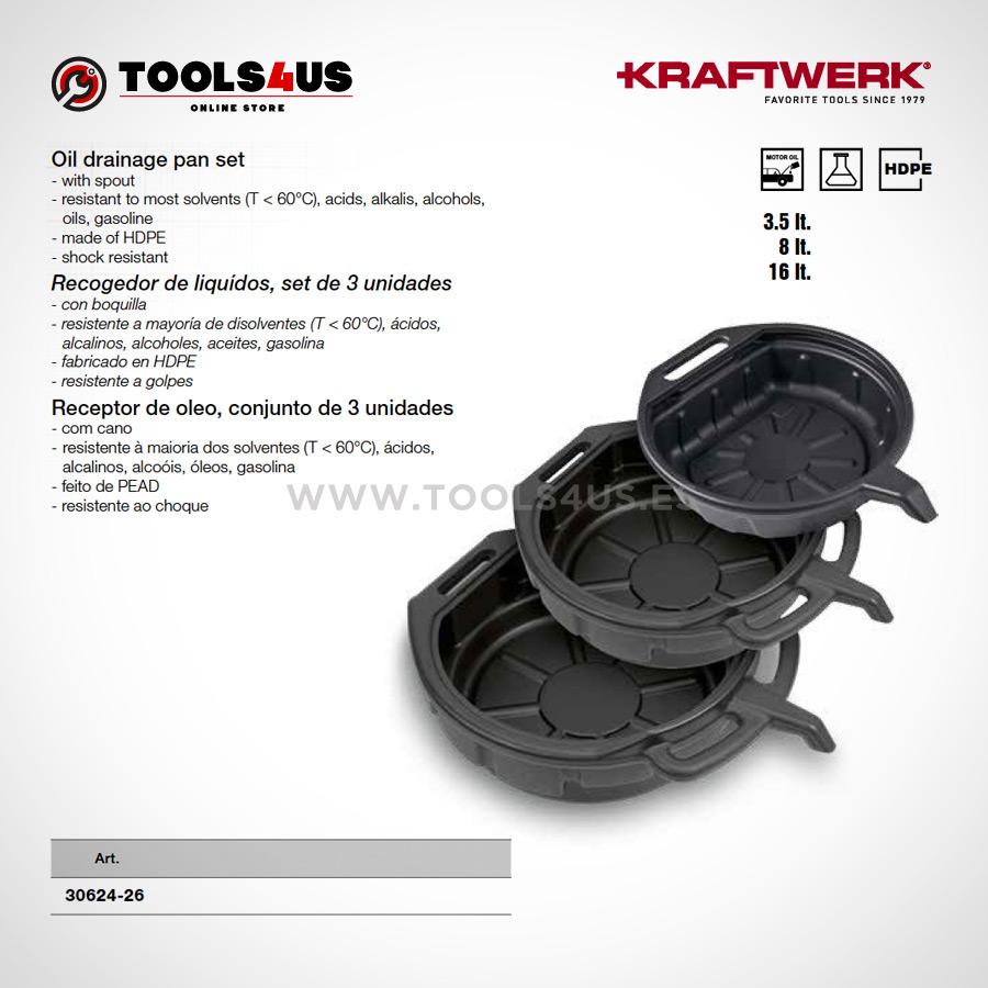 30624 26 KRAFTWERK herramientas taller barcelona espana Recogedor Aceite Liquidos Set 3 unidades 01 - Recogedor Aceite / Líquidos Set de 3 unidades