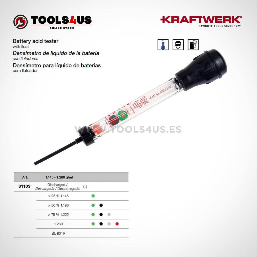 31103 KRAFTWERK herramientas taller barcelona espana Densimetro liquido bateria flotadores 01 - Densímetro de líquido de la batería con flotadores