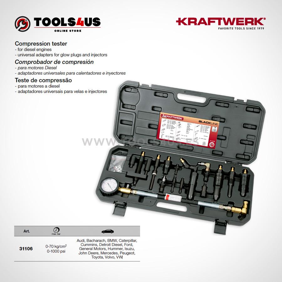 31106 KRAFTWERK herramientas taller barcelona espana Comprobador compresion analogico Motores Diesel 01 - Comprobador de compresión analógico (Motores Diesel)