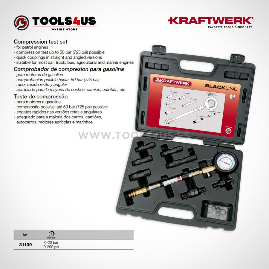 31109 KRAFTWERK herramientas taller barcelona espana Comprobador compresion analogico Motores Gasolina 01 - Comprobador de compresión analógico (Motores Gasolina)