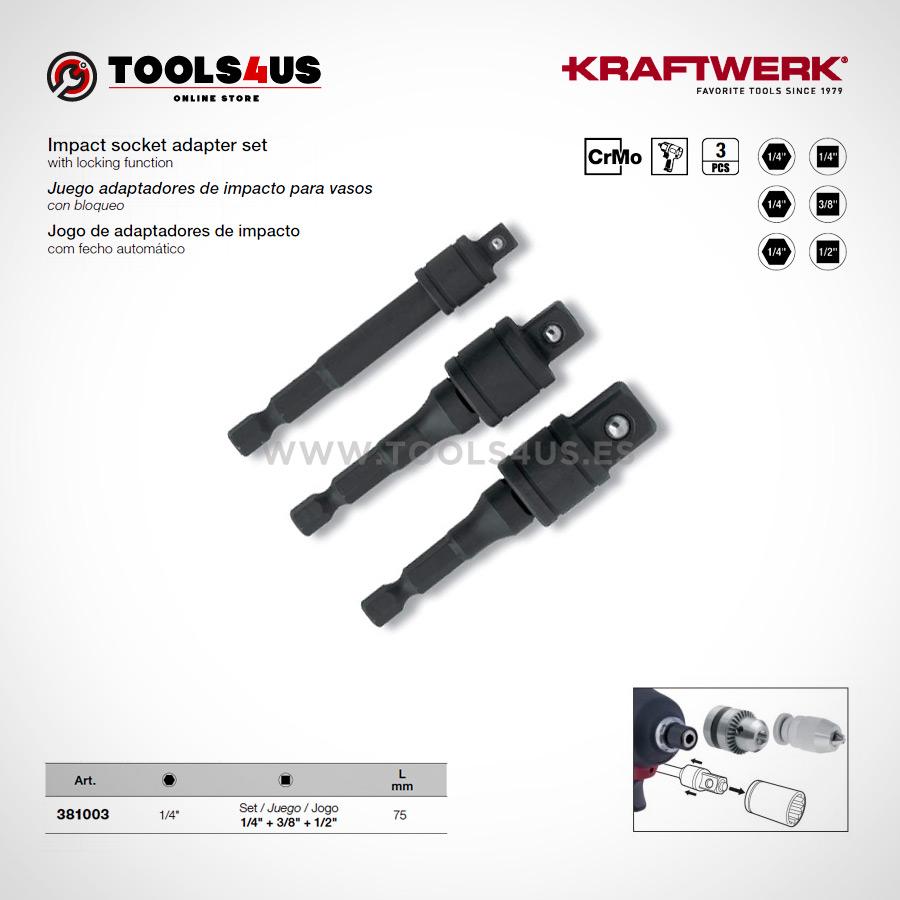 """381003 KRAFTWERK herramientas taller barcelona Juego adaptadores impacto vasos - Juego adaptadores reductores de impacto cortos de 1/4"""" con bloqueo"""