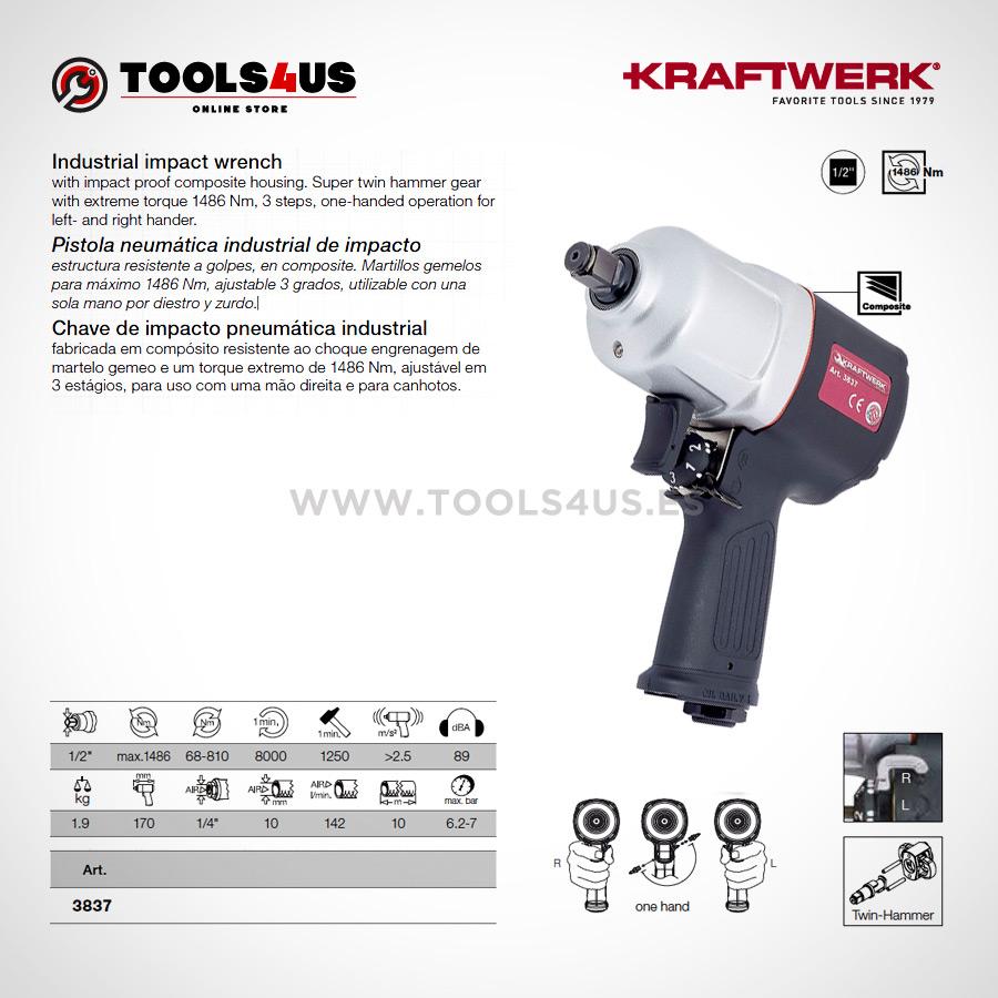 "3837 KRAFTWERK herramientas taller barcelona espana Pistola industrial neumática de impacto 02 - Pistola neumática industrial de impacto 1/2"""