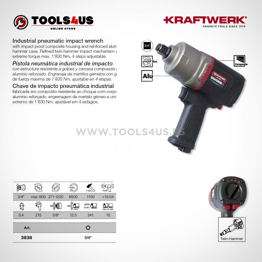 """3838 KRAFTWERK herramientas taller barcelona espana Pistola impacto a bateria 18V Kraftwerk 02 - Pistola neumática industrial de impacto 3/4"""""""
