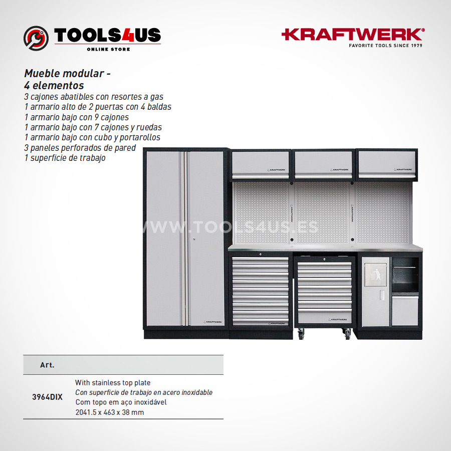 3964DIX Kraftwerk Mueble Modular Taller 4 Elementos INOX 03 - Mueble Modular Taller 4 Elementos en Inox
