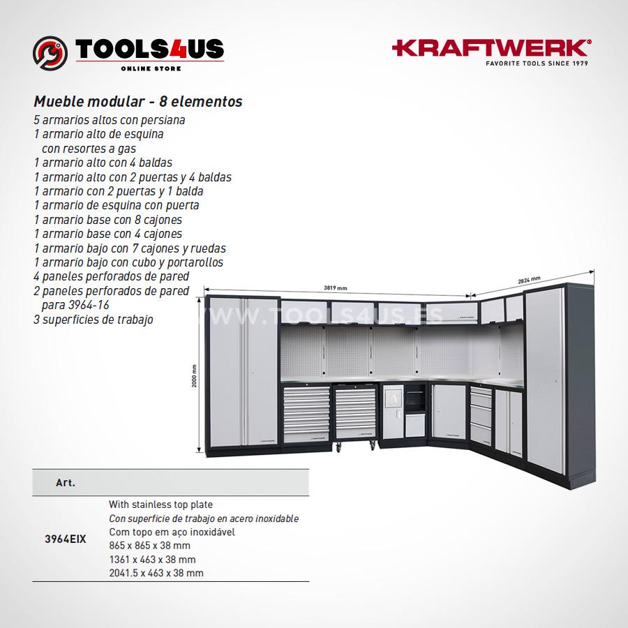 3964EIX Kraftwerk Mueble Modular Taller 8 Elementos INOX 03 - Mueble Modular Taller 8 Elementos en Inox