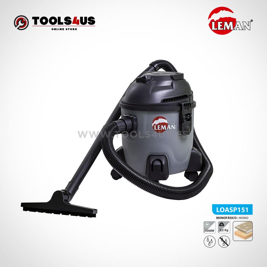 LOASP151 Aspirador polipropileno 15L 1250W Leman 01 - Aspirador de Polvo y Agua 15L 1250W Leman LOASP151