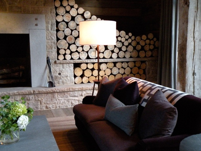 Fireplace wood storage idea