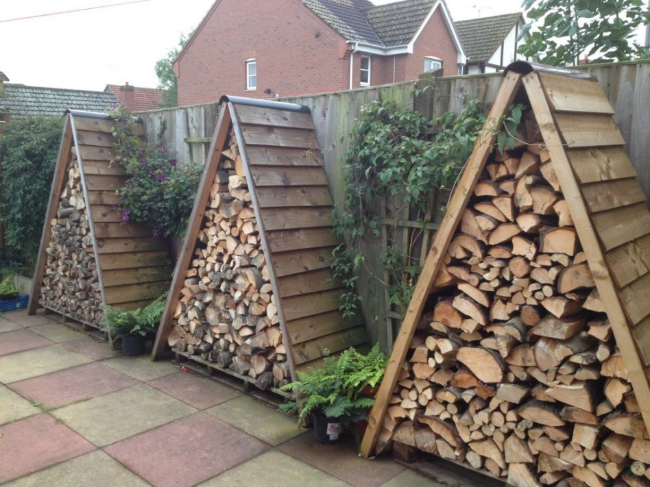 wooden shed firewood rack