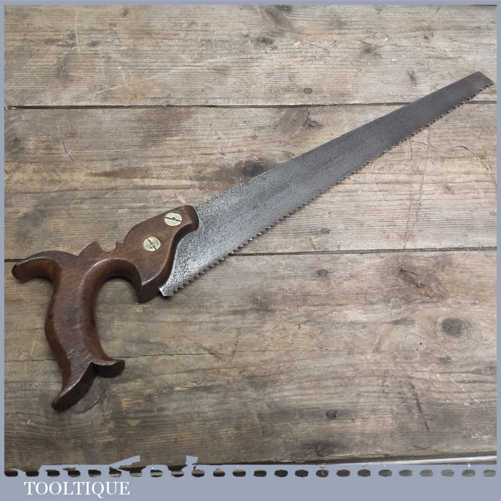 Small 19th Century Antique Hand Saw With Split Nut Brass Fixings